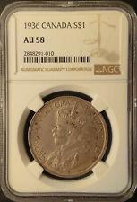 :1936 SILVER DOLLAR GEORGE-V S1$ CANADA KM# 31 LOW-POP NGC AU-58 HIGHEST-GRADES