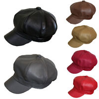 Men Women Faux Leather Octagonal Beret Cap Hat Gatsby Newsboy Peaked Cabbie Hats