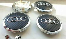 4x69mm Audi Black Carbon Wheel Center Caps Hubcaps Emblems Rim Caps Badges Logo