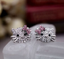 1 Pair Clear Pink Crystal Hello kitty Earrings Stud Earbob charms MD0001