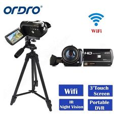 "Ordro D395 HD 1080p Digital Video Camera 24mp 3.0"" Touch Night Vision Tripod"