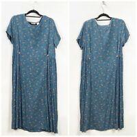 Eddie Bauer XL Petite Womens Blue Floral Print Long Modest Dress