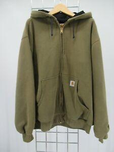 K0268 VTG Men's Carhartt Thermal Lined Zip Front Hooded Sweatshirt Size L