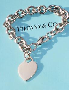 Tiffany & Co Sterling Silber verkauft Chain Bracelet Plain Herz Anhänger Charm £ 405