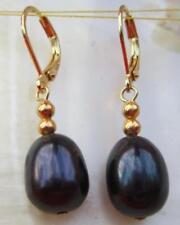 14K Gold Hoop HOT Huge AAA+ 10-13mm Black South Sea Pearl Earring