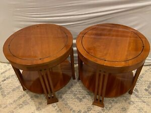 Used Pair Stickley Furniture Mission Cherry End Tables with Black Inlay # 912025