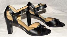 Fioni Black Pebbled & Croc Trim Faux Leather Open Toe Ankle Strap Heels Sz 8.5 M