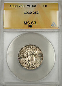 1930 Standing Liberty Quarter 25C ANACS MS-63 Full Head (Better Coin Toned 11 A)