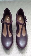 CLARKS CHORUS GIA AUBERGINE PURPLE RED LEATHER T-BAR SHOES HEELS SIZE 5 BNWOB