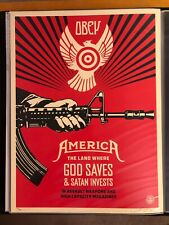 OBEY GIANT Shepard Fairey God Saves & Satan Invests 18x24 S/N Print 2013