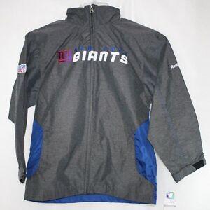 Youth Kids Reebok New York NY Giants Lightweight Hooded Wind NFL Onfield Jacket