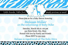 30 Giraffe Invitation Cards Baby Boy Shower Personalized Invites Blue A1