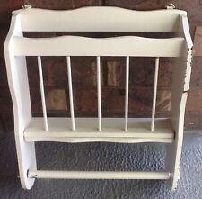 Vintage Wall Hung Magazine Rack File Holder White Wood Shabby Cottage Chic Decor