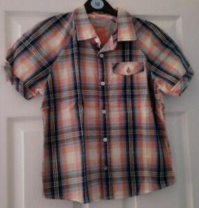 boys M&S orange mix short sleeve shirt age 10