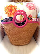 Gorgeous *LILLY PULITZER* LARGE Wicker Straw Tote Purse Bag! Pink Trim! HTF!!