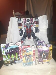 Lot of 4 Transformers Optimus Prime, Dragonus, Starscream, Ram Jet