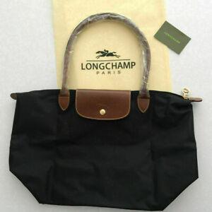 Womens New Black Longchamp Le Pliage 1899 Nylon Tote Handbag Bag Size Large