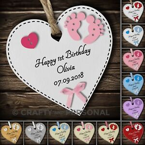Personalised Baby's First 1st Birthday Gift Heart Plaque or Magnet keepsake