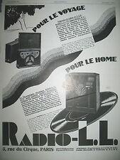 PUBLICITE DE PRESSE RADIO L.L. RADIO VALISE PHONOGRAPHE ELECTRIQUE AD 1929