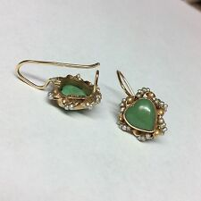 14K YELLOW GOLD GREEN JADE AND PEARLS HEART EARRINGS