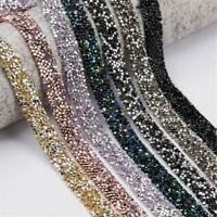 Bling Crystal Rhinestone Ribbon Wedding Dress Crafts Sewing Decor Trims Silver*1