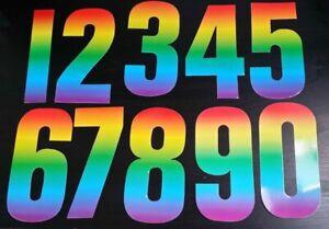 Rainbow Colour Wheelie Bin Number Stickers  Weatherproof 7inch/17cm