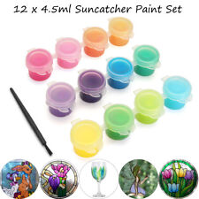 12Pcs 4.5ml 12 Mixed Colors Paint Pigment DIY Glass Window Art Craft + Brush Pen