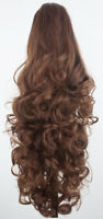 """17"""" 22"""" PONYTAIL Clip In On Hair Extensions Chestnut Brown REVERSIBLE 4 Styles"""