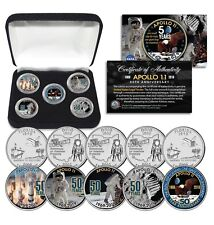 APOLLO 11 50th Anniversary Man on Moon State FL & OH Quarters 5-Coin Set w/ Box