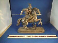 Antique Metal Warrior Horse & Rider Statue