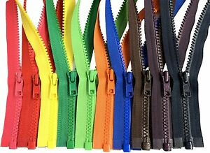 5Pcs Chunky Zip Open End Separating Zipper for Sewing Jacket Coats Plastic Teeth