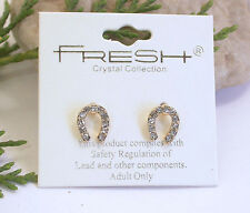 HORSE & WESTERN JEWELLERY JEWELRY LADIES  CRYSTAL  HORSESHOE EARRINGS GOLD