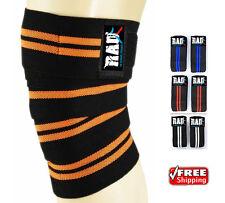 RAD 1 Pair Heavy Duty Knee Wraps For Power-lifting/Bodybuilding,Gym Orog & Black