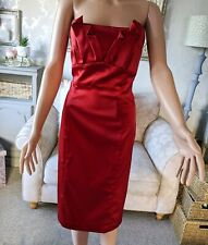 Coast Ladies 16 Red Strapless Satin Dress Missy Christmas Xmas Party IMMACULATE