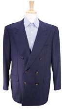 * BRIONI * Solid Navy Blue 2-Btn Double Breasted Wool Metal Button Blazer 44R
