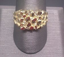 Real SOLID 10k Yellow Gold Nugget men's Ring Sizable pinkey casual