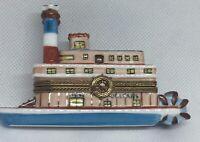 LIMOGES PEINT MAIN New Orleans Paddleboat  France Trinket Box