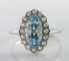 LONG 9k 9CT WHITE GOLD AQUAMARINE PEARL ART DECO INS CLUSTER RING FREE RESIZE