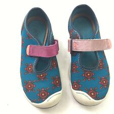 Plae Kids Shoes Girls 12.5 Leather Suede Mary Jane Water Slip On Blue Pink Play