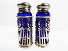 VTG Japan Cobalt Blue Glass & Silver Plate Case holder Salt & Pepper Shakers
