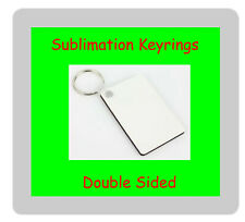50 x MDF Sublimation Double Sided Rectangle 6cm x 4cm Keyrings