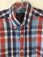 Claudio Campione Yachting Shirt Classic Easy Wear Plaid Check Men's L Repair