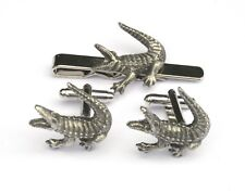 Crocodile Pewter Cufflinks and Tie Clip Set Wildlife Gift Boxed