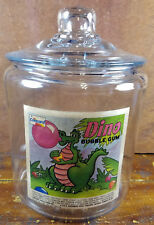 Concord Canada Dino Bubble Gum Dinosaur Blowing Bubbles Glass Counter Jar w/ Lid