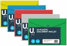 A5 Plastic Stud Document Wallets Files Folders Filing Colour Assorted 5 Pack