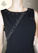 IVANKA TRUMP Women Dress Size 8 BLACK Knee CREPE Sleeveless GROMMET LBCUSA