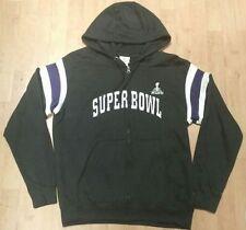 NFL Super Bowl XLVII Hoodie Zippered Sweatshirt Men's Medium Sewn on Design