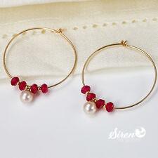 Echte Perlenohrringe Zucht SW  AAA-AAAA 14k Gold 585 ygf Echte Rubine Ohrringe