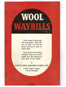 Orig 1959 Schute Bell Badgery Wool Waybills, Sheep Shearing, Used Nimmitabel NSW