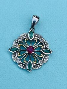 Antique White gold Emerald, Ruby And Diamond Pendant